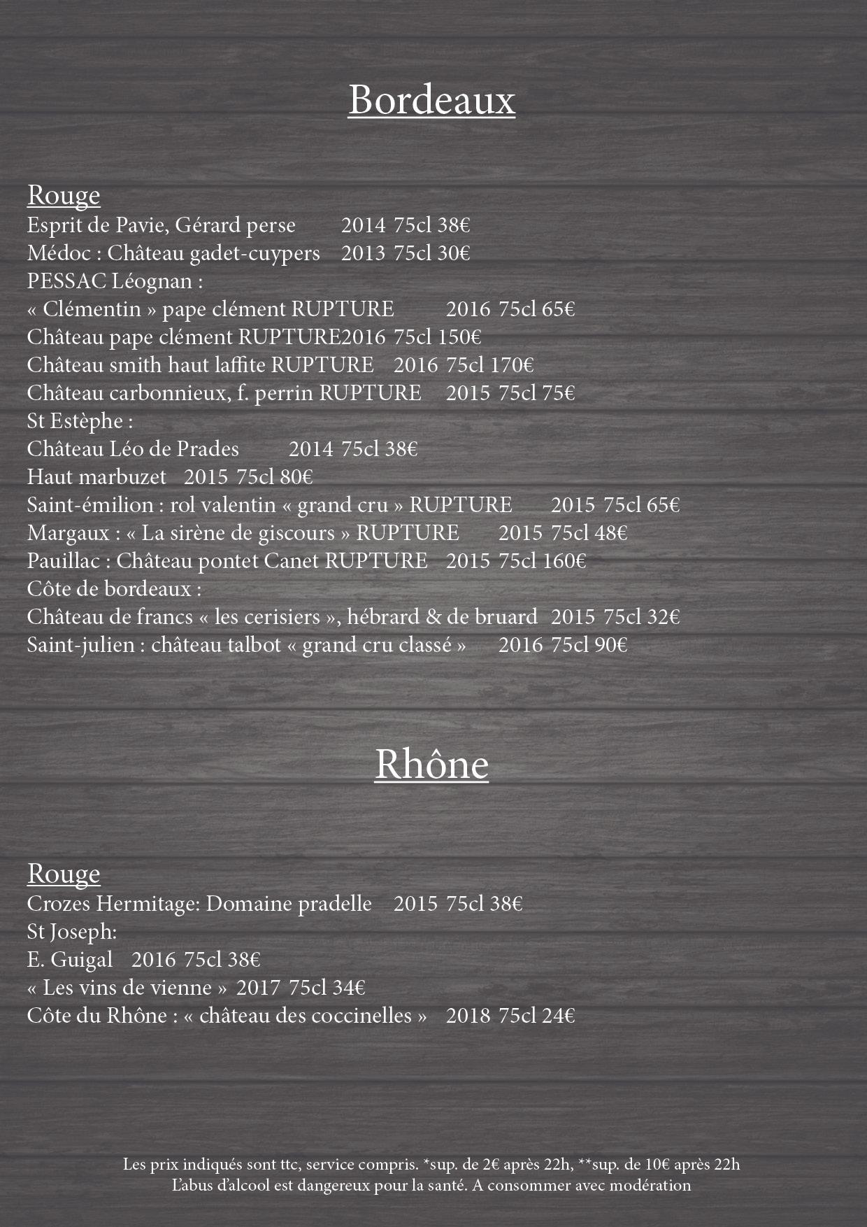 Carte des vins 6
